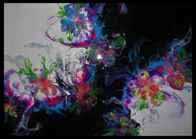 🔴Acrylic Pouring abstract flowers