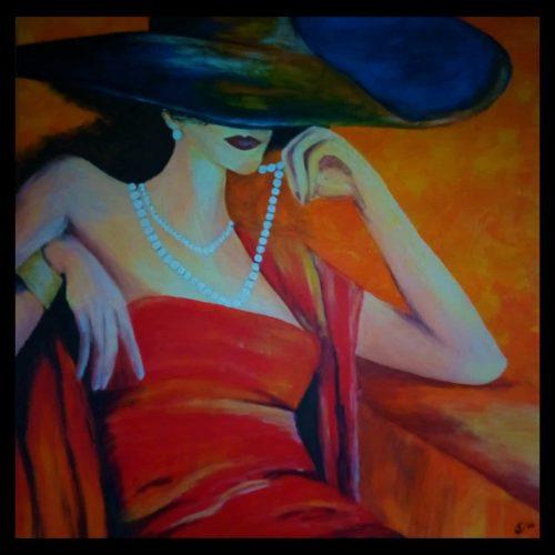 🔴 Dame in Rot Acryl 70x70