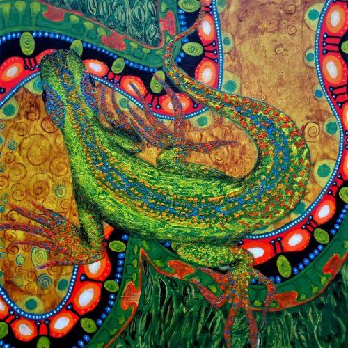 ? Psychedelic lizard Acryl 66x66 cm