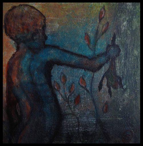 ? Junge mit dem Frosch Acryl 20x20 (nach Statue von Charles Ray in Venedig)