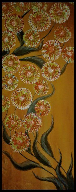 ? abstrakte Blumen Acryl 100x40
